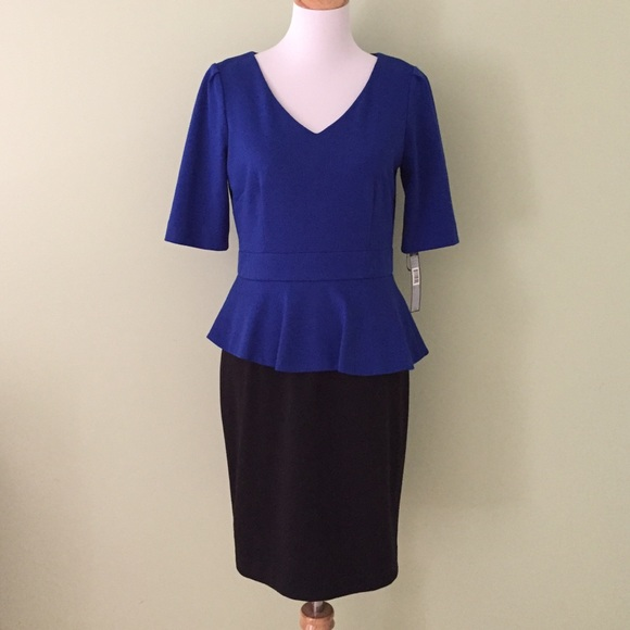 39cffd76aeb NWT Tahari Blue   Black Peplum Sheath Dress